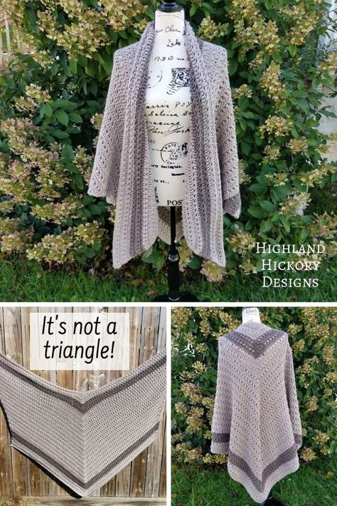 Crochet Poncho Crochet shawl with patterns L/XL, 2 XL, 3 XL, and 4 XL plus sized. - Crochet the Grand Canyon Shawl with this free pattern! There is a photo tutorial for the stitches required to make this V-shaped wrap. It is intermediate. Poncho Crochet, Poncho Shawl, Crochet Shawls And Wraps, Crochet Jacket, Crochet Scarves, Crochet Clothes, Crochet Stitches, Crochet Patterns, Crochet Designs