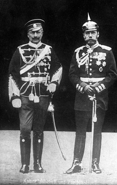 Emperor Wilhelm II of Germany (left) in Russian uniform, and Tsar Nicholas II of Russia (right) in Prussian uniform.