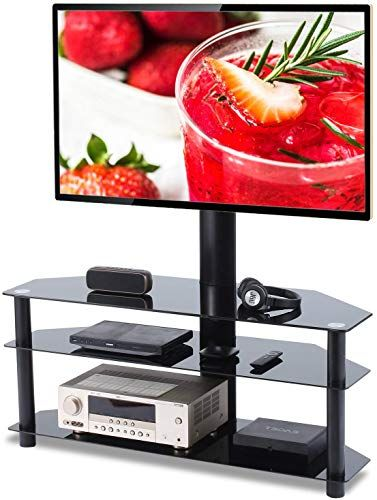 Floor TV Stand with Universal Swivel Bracket Mount for Flat//Curved Screen TV