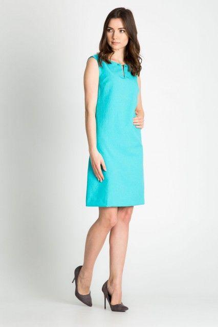 162f5b96eeb1e4 TURKUSOWA SUKIENKA BEZ RĘKAWÓW   Moda kobieca   Sukienka, Moda ...