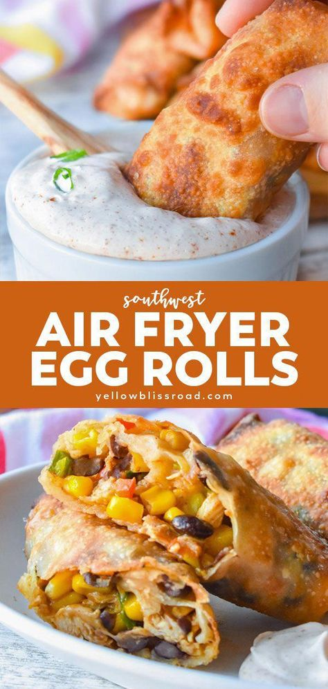 Air Fryer Recipes Discover Southwest Air Fryer Egg Rolls Air Fryer Egg Rolls have a flavorful southwest filling rolled up in a crunchy wrapper. Dunk them in a zesty dip and youre in for a delicious appetizer. Southwest Egg Rolls, Southwest Air, Air Fryer Dinner Recipes, Air Fryer Recipes Easy, Easy Recipes, Best Appetizer Recipes, Healthy Recipes, Crescent Rolls, Zucchini Chips