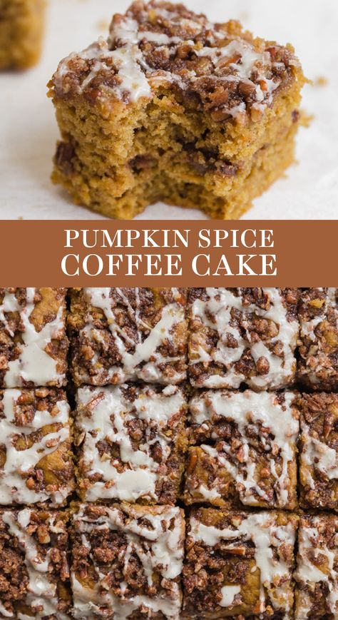 Pumpkin Spice Coffee Cake features a moist sour cream pumpkin cake loaded with brown sugar streusel and topped with a maple glaze. The best easy homemade recipe great for a crowd. #coffeecake #pumpkincoffeecake #pumpkinspice #easycoffeecake