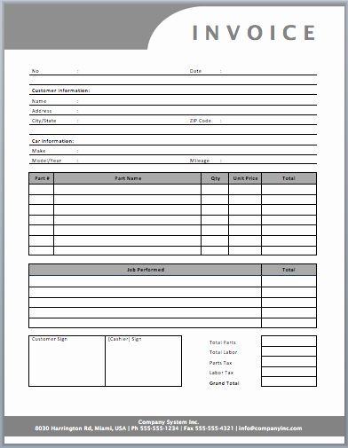 Auto Repair Invoice Template Word Elegant Auto Repair Invoice Template Templates In 2020 Invoice Template Word Invoice Template Invoice Layout
