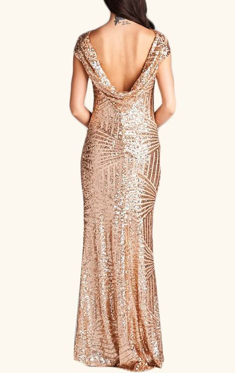 99849ac3091c8 Negozio Vestito lungo a sirena smanicato a schiena nuda con paillettes  luccicanti - oro rosa on-line. SheIn offre Vestito lungo a sirena smani…