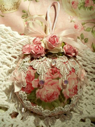 fabric covered and embellished ornament