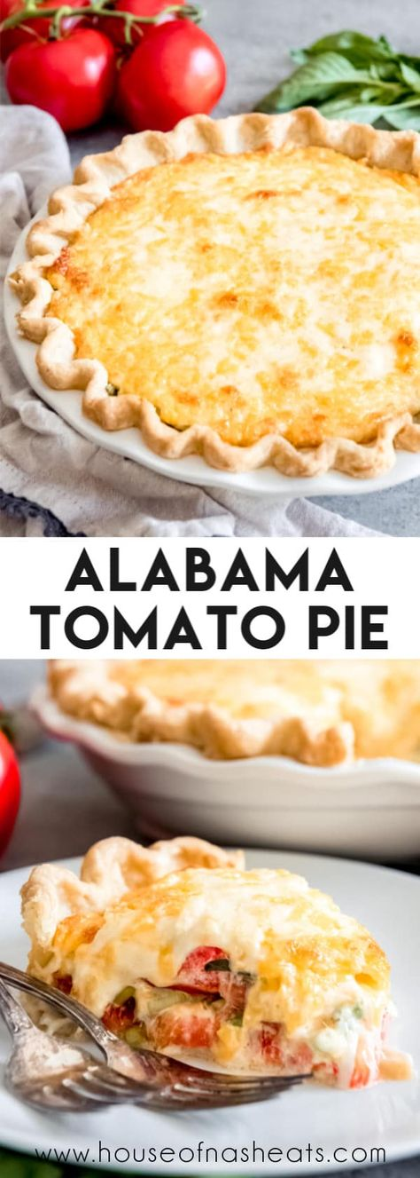 This savory Southern Tomato Pie is made with summer-ripe tomatoes, fresh basil leaves, and topped with a tasty cheese & mayo topping! # Food and Drink salad Easy Southern Tomato Pie - House of Nash Eats Southern Tomato Pie, Food Design, Yummy Food, Tasty, Delicious Desserts, Comfort Food, Bbq Party, Vegetable Recipes, Tomato Pie Recipes