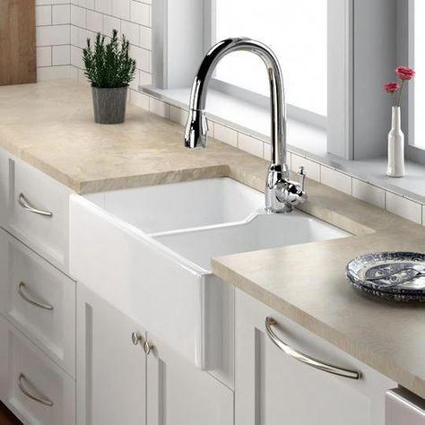31 Elmhurst Fireclay Double Bowl Farmhouse Sink In 2020 Kitchen