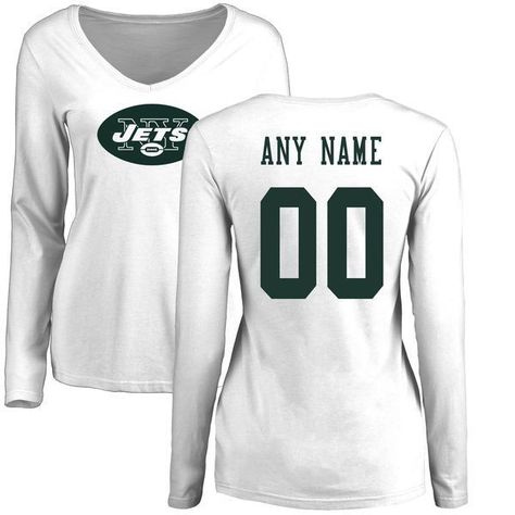 Women New York Jets NFL Pro Line White Custom Name and Number Logo Slim Fit  Long Sleeve T-Shirtcheap nfl jerseys 12367d785