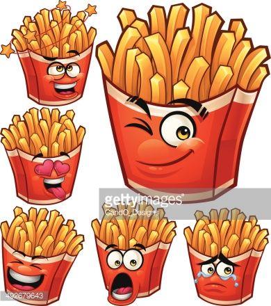 Fries Cartoon Set B Food Drawing Food Cartoon Fries
