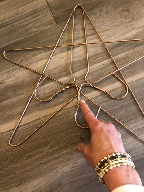 DIY Twine Star - The Shabby Tree twine. You will want to tie a knot for your starting point. Twine Crafts, Holiday Crafts, Christmas Crafts, Christmas Decorations, Prim Christmas, Wire Hanger Crafts, Wire Hangers, Crafts To Make, Arts And Crafts