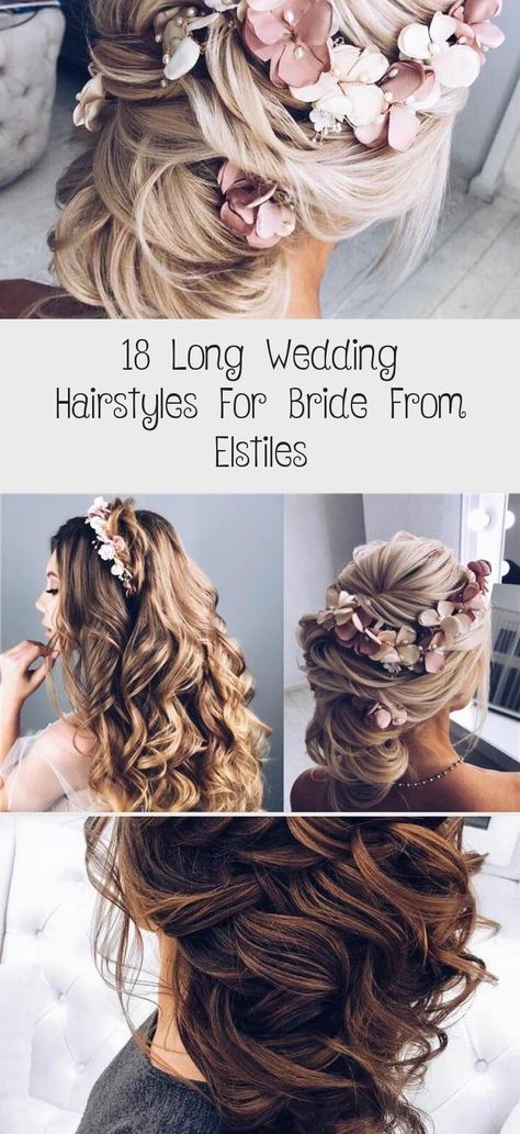 18 Long Wedding Hairstyles for Bride from Elstiles – My Stylish Zoo #weddinghairBob #weddinghairBrunette #weddinghairGuest #Simpleweddinghair #weddinghairBangs
