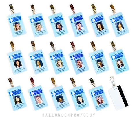 Grey's Anatomy Grey + Sloan Charactor ID Card Replica w/ Clip | Choice: Meredith Grey, Derek Shepherd, Callie, Bailey, Yang, Arizona, Lexie