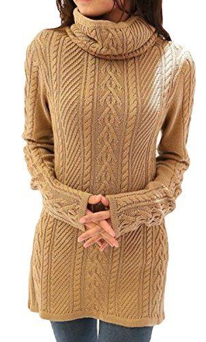 86cec68d1b EOZY-Vestito Maglia Lungo Maglione Collo Alto Pullover Donna Corto ...
