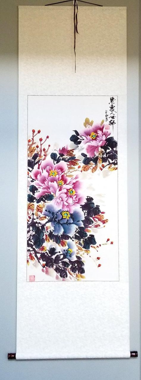 ORIGINAL traditional Chinese watercolor peony flower painting,framed,large vertical wall art home de