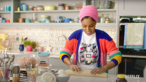 Nadiya Hussein's colorful eclectic kitchen/set is kitchen goals.