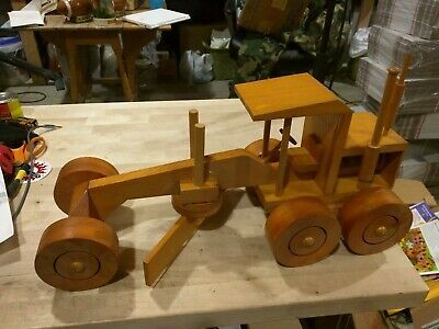Advertisement Hand Made Wooden Grader Tractor Toy Equipment In 2020 Tractor Toy Wooden Toy Trucks Handmade Wooden Toys