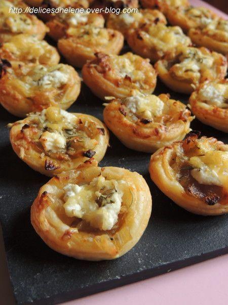 tartelettes aux oignons caramélisées et chèvre frais