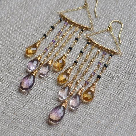 Citrine and Ametrine Statement Earrings Black Spinel Small Earrings, Wire Earrings, Pendant Earrings, Chandelier Earrings, Statement Earrings, Copper Jewelry, Beaded Jewelry, Jewellery, Brooches Handmade