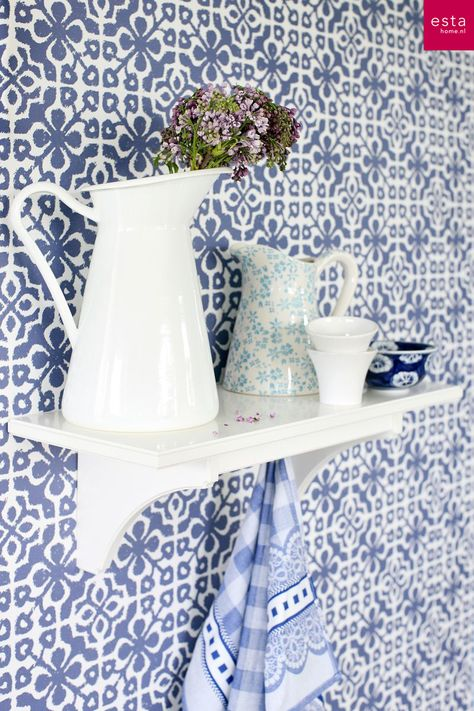 wallpaper azulejos tiles collection Ginger ESTAhome.nl #behang tegelmotief delfts blauw