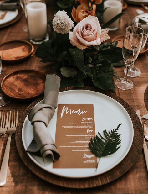 A rustic wedding reception table with vintage details and kraft paper menu. This beautiful tropical boho wedding in Miami is filled with coral florals, gorgeous greenery, and a bride with inspiring boho style. Wedding Reception Ideas, Wedding Stage Decorations, Wedding Table Settings, Wedding Catering, Rustic Table Settings, Best Wedding Ideas, Wedding Centerpieces, Reception Timeline, Bohemian Wedding Reception