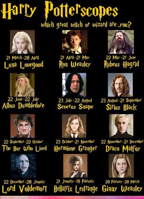 """Which Great Witch Or Wizard Are You?  Match up your birthday for your """"potterscope"""". #MedinaLibrary  #Cheezburger #Wizards"""