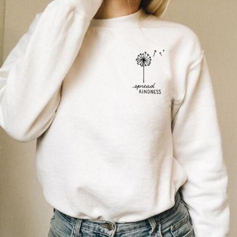 Spread Kindness Dandelion Pocket Print Women Long Sleeve Sweatshirts - White / 2XL