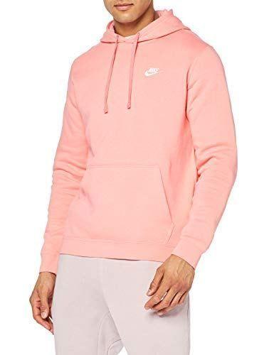 Nike Mens Sportswear Pull Over Club Hooded Sweatshirt Pink