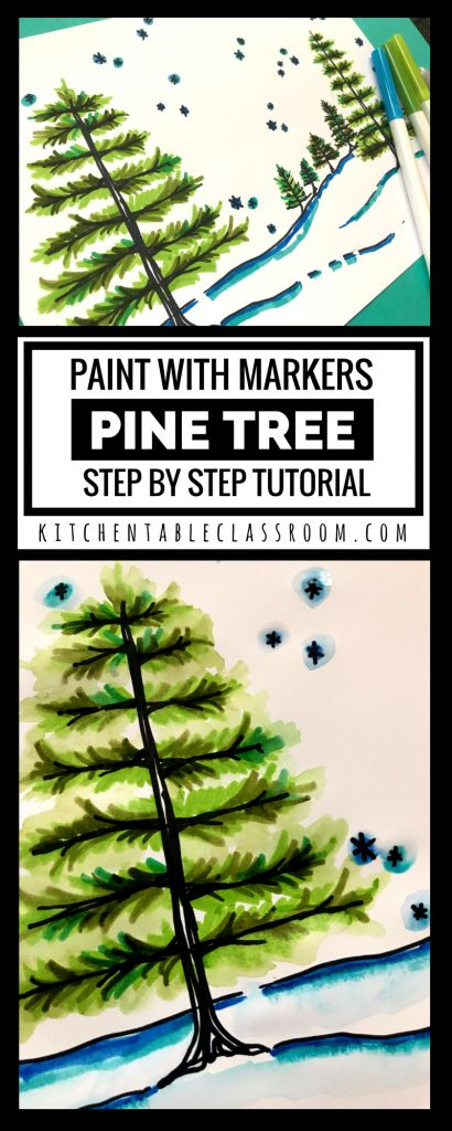 Paint with Markers- Pine Tree Step by Step Tutorial