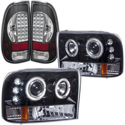 Ford F250 Super Duty 1999 2004 Smoked Halo Projector Headlights And Led Tail Lights Black Chrome Diesel Trucks F250 Super Duty F250