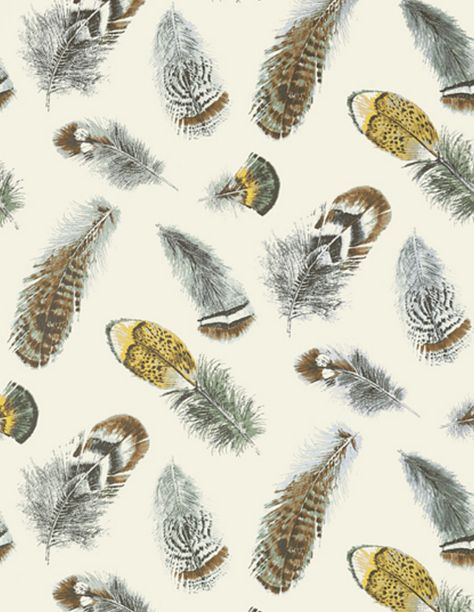 Feathers Wallpaper in Aqua on Cream (Thibaut)