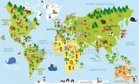 Mapa Del Mundo De Dibujos Animados Divertidos Con Ninos De Diferentes Nacionalidades Animales Y Monumentos De To Continents And Oceans World Map Cartoon World