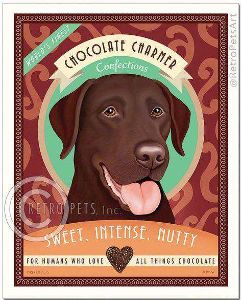 LABRADOR RETRIEVER Chocolate Lab Martini Dog Art PRINT