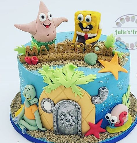 Astounding Spongebob Squarepants And Friends Birthday Cake Made With Satin Funny Birthday Cards Online Alyptdamsfinfo