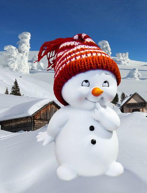 Grußkarte, Winter, Schneemann, Winterlich, Schnee