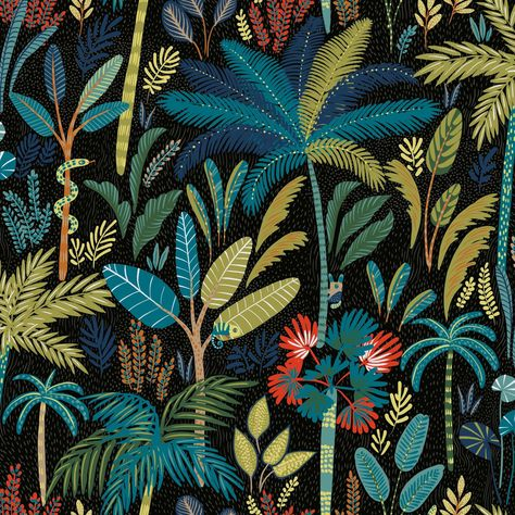 Blue and Black Tropical Peel And Stick Wallpaper: Black/Blue/Green/Multi by World Market
