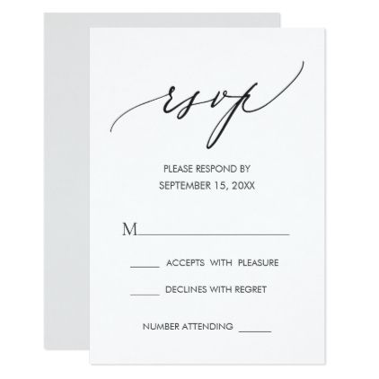 Simple Modern Calligraphy Black White Wedding Rsvp Zazzle Com
