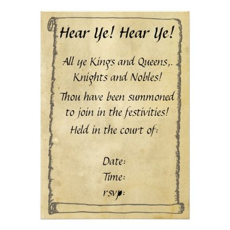 Hear Ye Birthday Invitation Wording