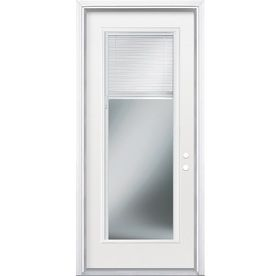 Masonite Blinds Between The Glass Left Hand Inswing Primed Steel Entry Door With Insulating Core Common 32 In X 80 In Entry Doors Double Entry Doors Blinds