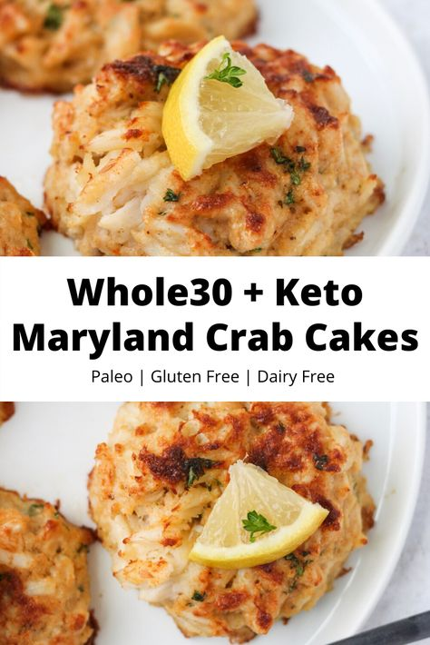 These + Keto Maryland Crab Cakes are made with little filler and no bread or crackers! They are completely gluten free, dairy free, grain free, and paleo. Perfect for the holidays or any time of year! Maryland Crab Cakes, Paleo Whole 30, Whole 30 Recipes, Paleo Crab Cakes, Low Carb Crab Cakes, Dairy Free Recipes, Healthy Recipes, Paleo Food, Vegetarian Recipes