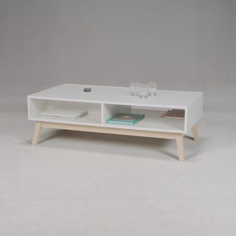 Table Basse 1 Tiroir 2 Niches Blanc Laque L120cm Snow Blanc Taille Unique Table Basse Deco Tiroir