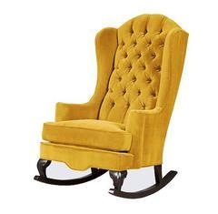 The Mustard Yellow Velvet Wingback Rocking Chair This Rocking