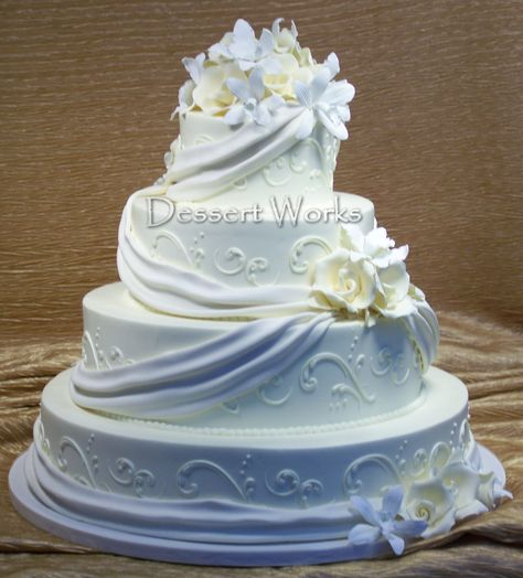 4-tiered elegant wedding cake