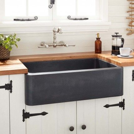 36 Fiona Hammered Copper Farmhouse Sink Antique Black With