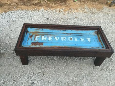 Old chevy tailgate table by Killerstyles on Etsy Car Part Furniture, Automotive Furniture, Automotive Decor, Design Furniture, Furniture Projects, Diy Wood Projects, Garage Furniture, Blue Furniture, Bench Furniture