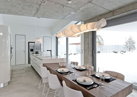 DININGROOM | Osice House, Czech Republic | French windows| White&wood furniture | Interior design by OOOOX