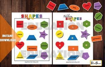 Shape Matching Game Printable Montessori 3 Part Cards Preschool Activities Shape Matching Game Shape Matching Preschool Activities