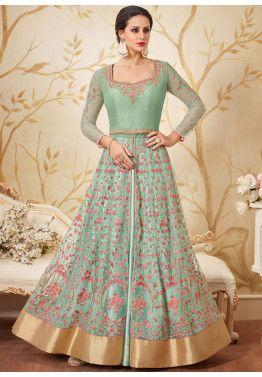 d222fb7e5e Buy Mint Green Kurti Style Reception Lehenga Choli Online in Net