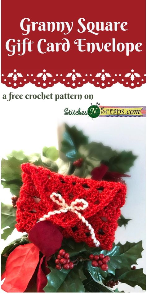 ADVERTISEMENT ADVERTISEMENT Free Pattern – Granny Square Gift Card Envelope: Giving a gift card? Personalize it with this fast and easy gift card envelope! Made from a simple granny square, it works up quickly and is a great project for beginners. Crochet Christmas Decorations, Dog Christmas Gifts, Crochet Christmas Ornaments, Christmas Crochet Patterns, Holiday Crochet, Crochet Gifts, Christmas Afghan, Crochet Snowflakes, Crochet Summer