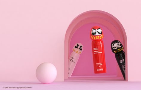 Cosmetic packaging concept by Xi Chan inspired by Japanese Daruma dolls