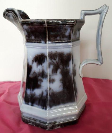 Vintage Mulberry Water Pitcher, Flow Black, Transferware, Ironstone, Willow, Corean Pattern, Hollow Ware, Milk Pitcher